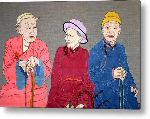Textile Metal Print featuring the mixed media Three Mongolians by Leslie Rinchen-Wongmo