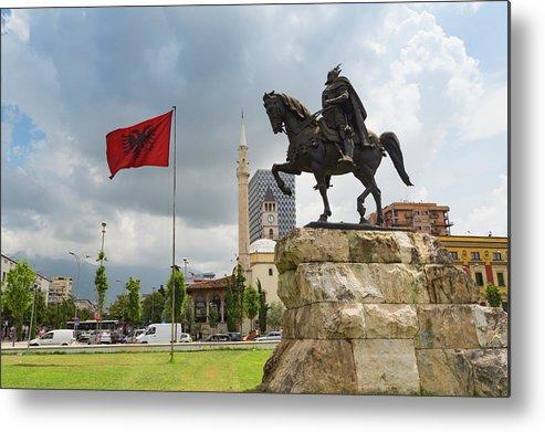 Albania Metal Print featuring the photograph Tirana, Albania. Skanderbeg Square by Ken Welsh
