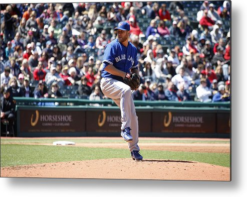 American League Baseball Metal Print featuring the photograph Toronto Blue Jays V. Cleveland Indians by John Grieshop