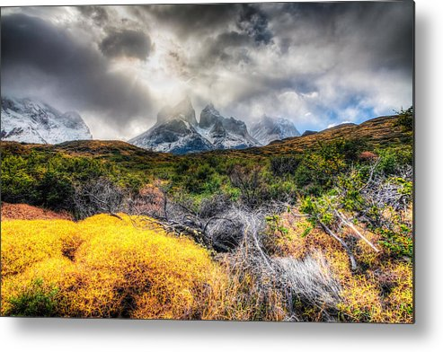 Chile Metal Print featuring the photograph Torres Del Paine Peaks by Roman St