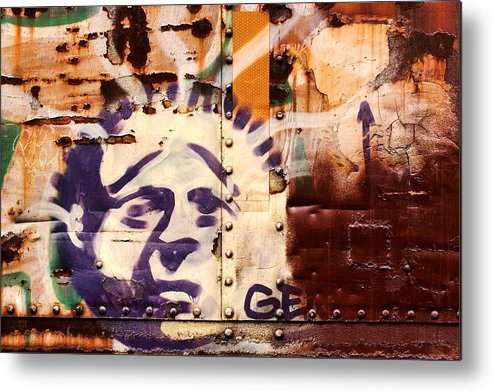 Graffiti Metal Print featuring the photograph Train Art Statue Of Liberty by Carol Leigh
