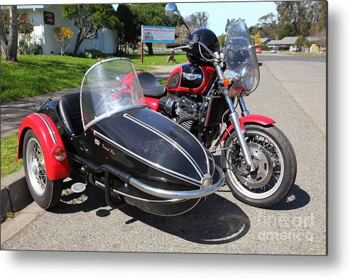 Transportation Metal Print featuring the photograph Triumph Motorcycle With Sidecar 5d28099 by Wingsdomain Art and Photography