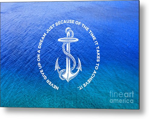 Anchor Metal Print featuring the photograph Turquoise Blue Tropical Sea With Vintage White Anchor by Beverly Claire Kaiya