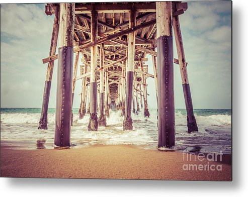 1950s Metal Print featuring the photograph Under The Pier In Orange County California Picture by Paul Velgos