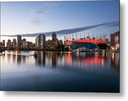 City Skyline Photography Metal Print featuring the photograph Vancouver Skyline With Bc Place by Sabine Edrissi