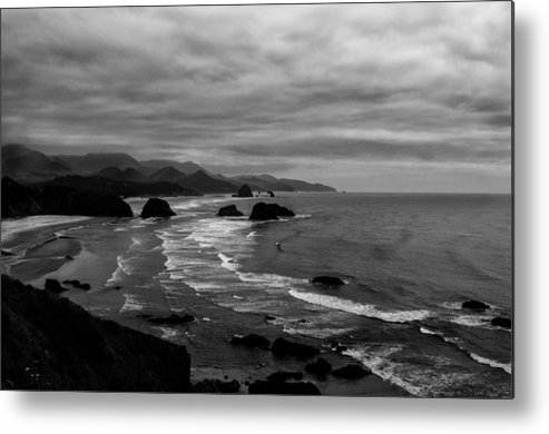 Black And White Metal Print featuring the photograph View From Ecola Park by Kelly Hayner
