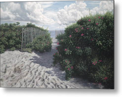 Rosa Rugosa Metal Print featuring the painting Vineyard View Roses by Julia O'Malley-Keyes