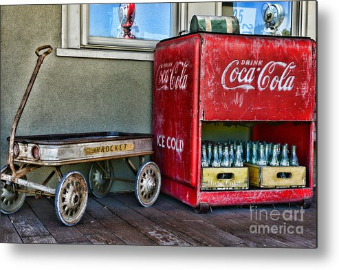 Paul Ward Metal Print featuring the photograph Vintage Coca-cola And Rocket Wagon by Paul Ward
