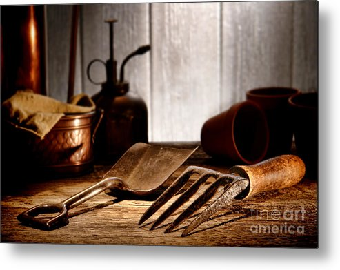Gardening Metal Print featuring the photograph Vintage Gardening Tools by Olivier Le Queinec