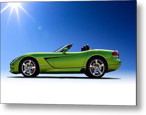 Green Metal Print featuring the digital art Viper Roadster by Douglas Pittman