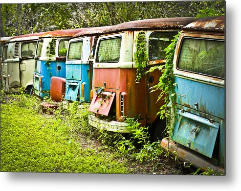 Volkswagen Metal Print featuring the photograph Vw Buses by Carolyn Marshall