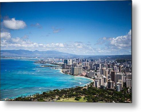 Waikiki Metal Print featuring the photograph Waikiki Beach From Diamond Head by Casey Barnett