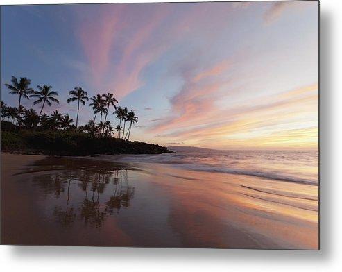Wailea Maui Sunset Hawaii Palm Trees Rocks Calm Beach Clouds Coa Metal Print featuring the photograph Wailea Reflection by David Olsen