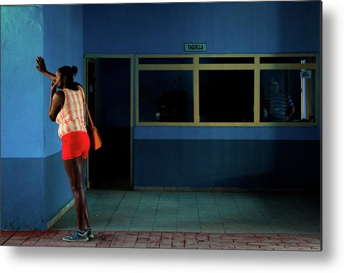Cuba Metal Print featuring the photograph Waiting For The Bus by Inge Schuster