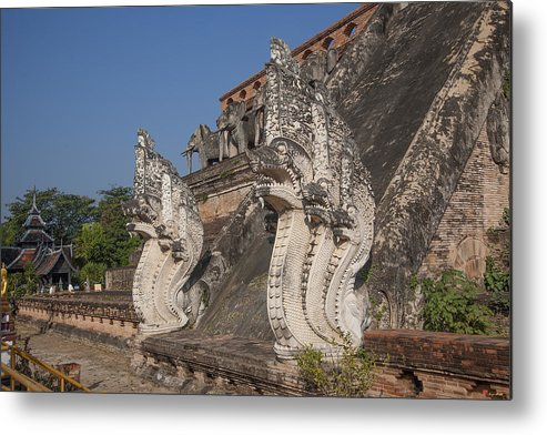 Thailand Metal Print featuring the photograph Wat Chedi Luang Phra Chedi Luang Five-headed Naga Dthcm0054 by Gerry Gantt