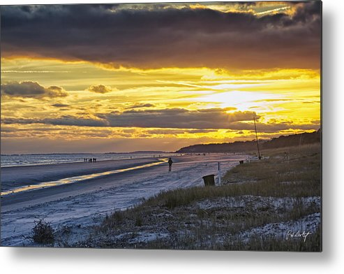 Beach Metal Print featuring the photograph Watching The Sun Set by Phill Doherty