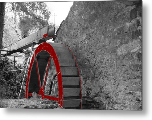 Water Metal Print featuring the photograph Water Wheel. by Christopher Rowlands