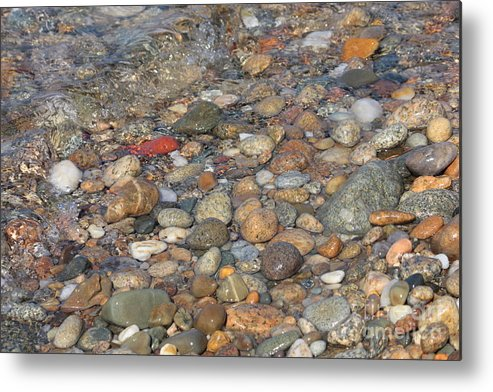 Shore Metal Print featuring the photograph Wave Over Beautiful Rocks by Carol Groenen