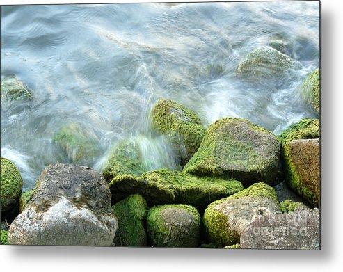 Illinois Metal Print featuring the photograph Waves On Mossy Rocks by Deborah Smolinske