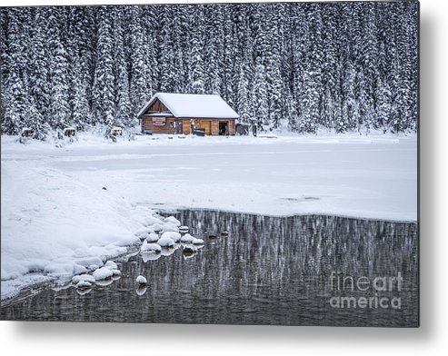 Lake Louise Metal Print featuring the photograph When It Snows Outside by Evelina Kremsdorf