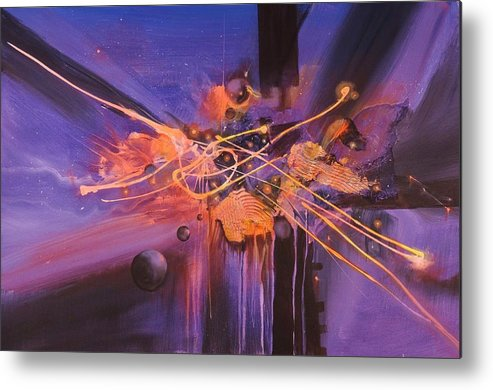 Abstract Art Metal Print featuring the painting When Planets Align by Tom Shropshire