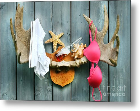Antlers Metal Print featuring the digital art Wild Summer Cottage Weekend by Sandra Cunningham
