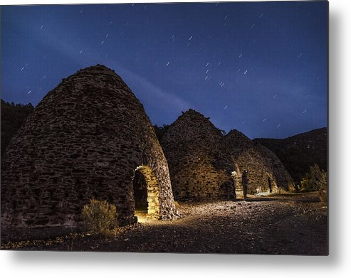 Night Metal Print featuring the photograph Wilrose Charcoal Kilns by Cat Connor