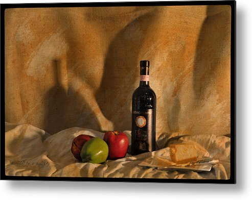 Feature Art Metal Print featuring the photograph Wine Apples And Cheese by Paulette B Wright