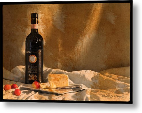 Feature Art Metal Print featuring the photograph Wine Cherries And Cheese by Paulette B Wright