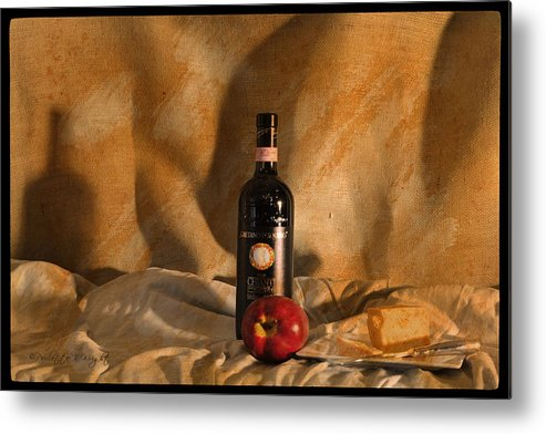 Feature Art Metal Print featuring the photograph Wine With An Apple And Cheese by Paulette B Wright