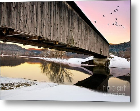 Downsville Metal Print featuring the photograph Winter Bridge Geese At Sunset by Lori Sulger