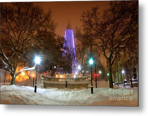 Mount Vernon Metal Print featuring the photograph Winter Night-city Lights-and Christmas Lights At The Washington Monument by SCB Captures