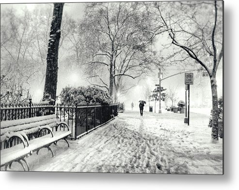 New York City Metal Print featuring the photograph Winter Night - Snow - Madison Square Park - New York City by Vivienne Gucwa