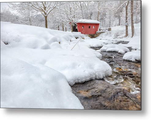 Covered Bridge Metal Print featuring the photograph Winter Stream by Bill Wakeley