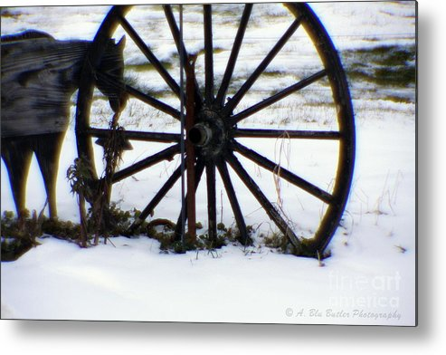 Winter Metal Print featuring the photograph Winter Wagon Wheel by Ann Butler