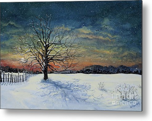Oak Tree Metal Print featuring the painting Winters Eve by Mary Palmer