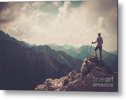 Woman Metal Print featuring the photograph Woman Hiker On A Top Of A Mountain by Nejron Photo