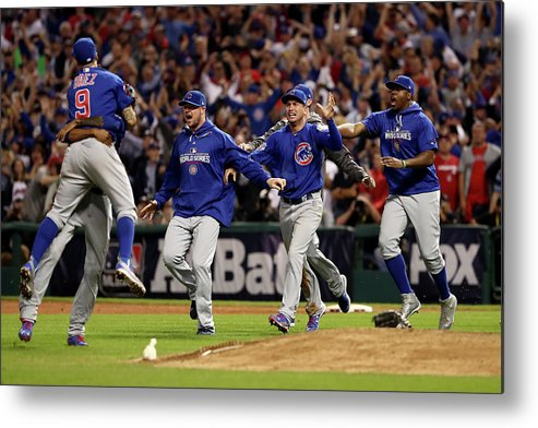 American League Baseball Metal Print featuring the photograph World Series - Chicago Cubs V Cleveland by Elsa