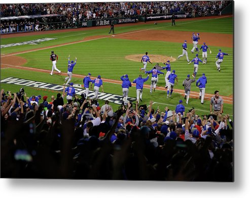 American League Baseball Metal Print featuring the photograph World Series - Chicago Cubs V Cleveland by Jamie Squire