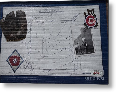 Chicago Cubs Metal Print featuring the photograph Wrigley Field - Plat Of Survey by David Bearden