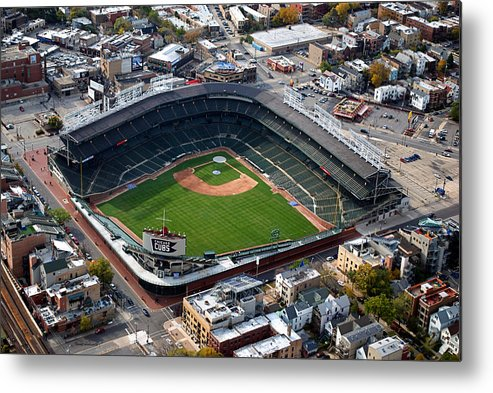 Chicago Cubs Metal Print featuring the photograph Wrigley Field Chicago Sports 02 by Thomas Woolworth