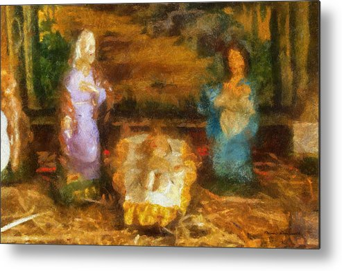 Baby Jesus Metal Print featuring the photograph Xmas Baby Jesus Photo Art by Thomas Woolworth