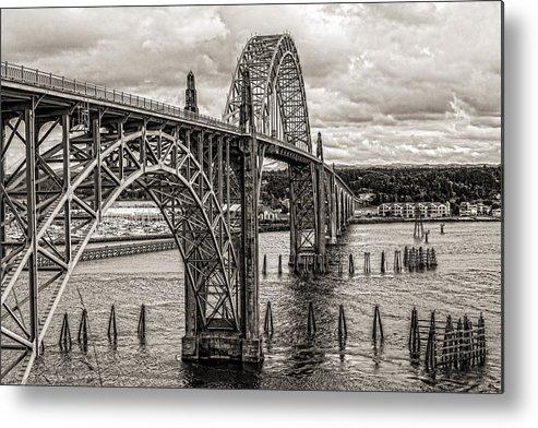 Yaquina Bay Bridge Metal Print featuring the photograph Yaquina Bay Bridge by Thomas J Rhodes