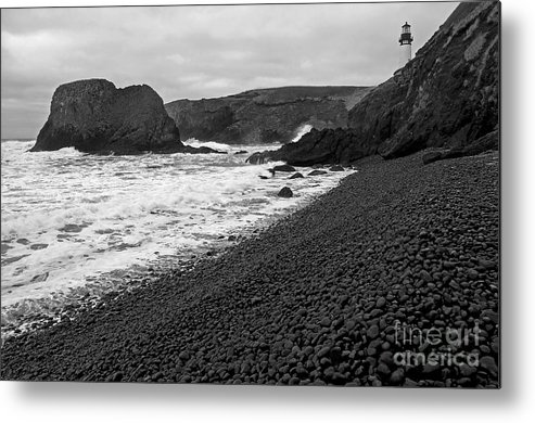 Beach Metal Print featuring the photograph Yaquina Head In Bw by Nick Boren