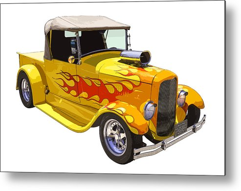 1928 Ford Pickup Metal Print featuring the photograph Yellow 1928 Hotrod Pickup Truck by Keith Webber Jr