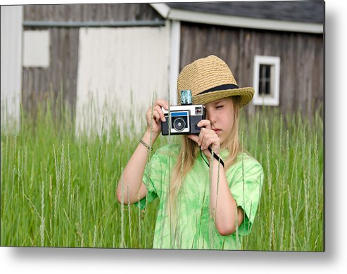 Girl Metal Print featuring the photograph Young Photographer by Maria Dryfhout