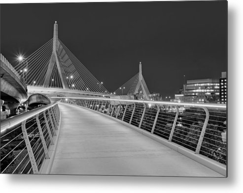 Boston Metal Print featuring the photograph Zakim Bridge Bw by Susan Candelario