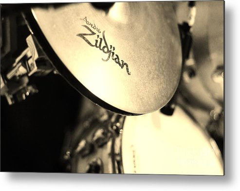 Cymbal Metal Print featuring the photograph Zildjian Hi-hat Sepia by Lynda Dawson-Youngclaus