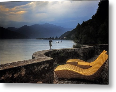 Lake Maggiore Metal Print featuring the photograph Canvas Chairs by Joana Kruse