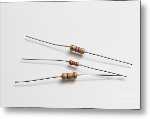 Component Metal Print featuring the photograph Carbon Film Resistors by Photo Researchers, Inc.